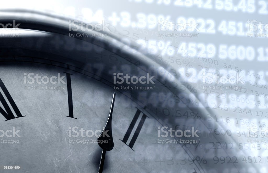 table with numbers and clock face stock photo