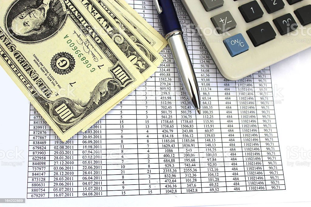table with numerals and american dollars royalty-free stock photo