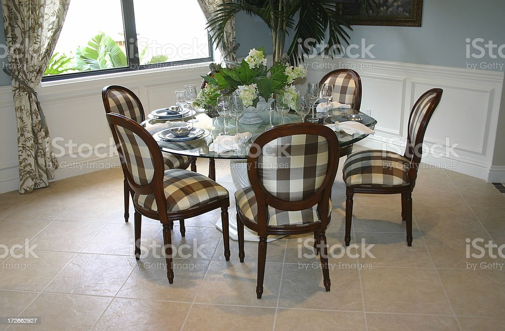 Table with Plaid Chairs royalty-free stock photo