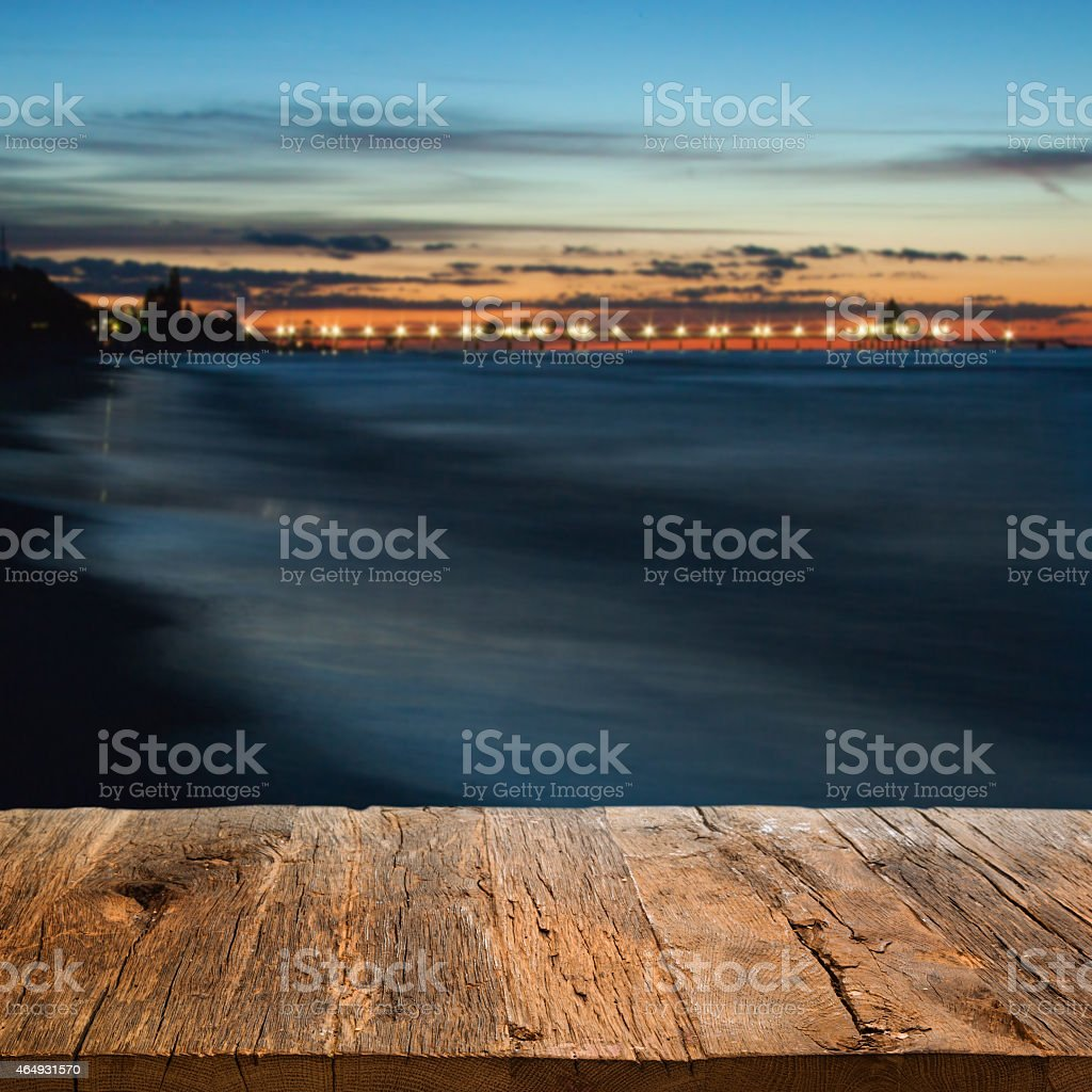 Table with sea background stock photo