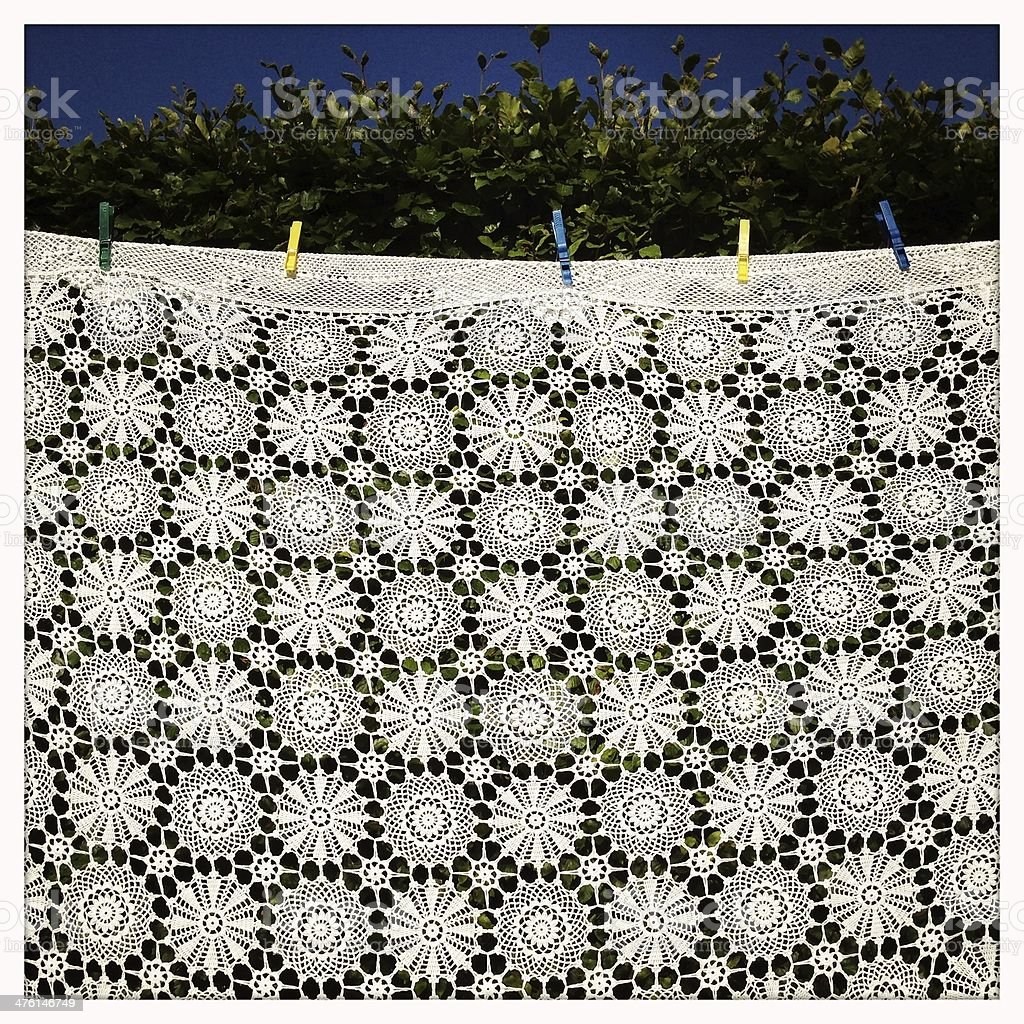 Tablecloth drying stock photo