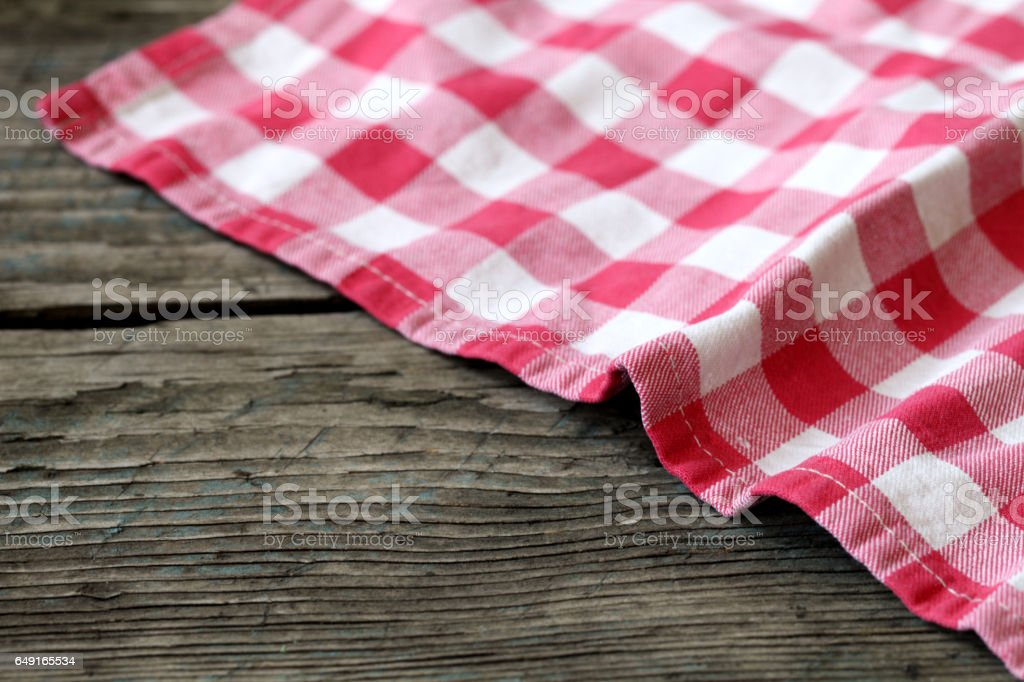Tablecloth on a table. stock photo