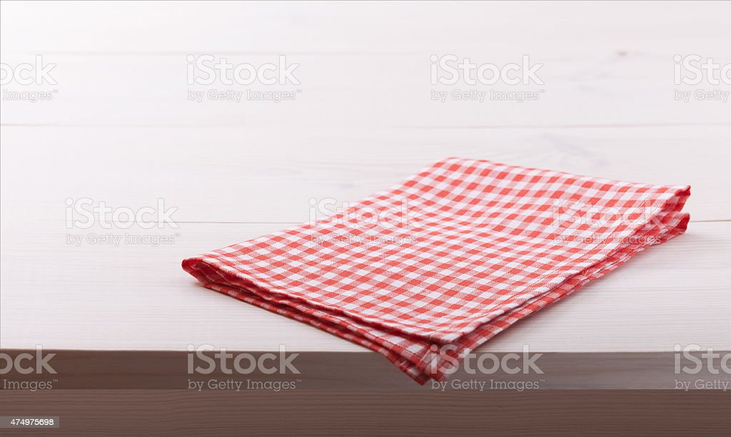 Tablecloth textile on white wooden background stock photo