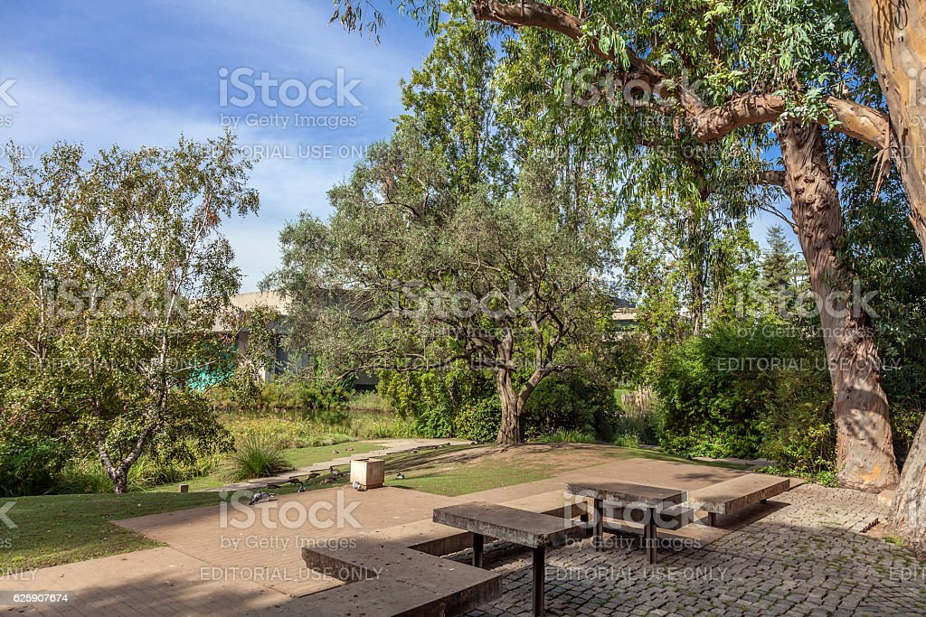 Tables and benches in the garden of the Calouste Gulbenkian. Lisbon stock photo