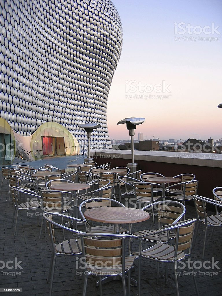 tables and chairs dining al fresco birmingham uk royalty-free stock photo