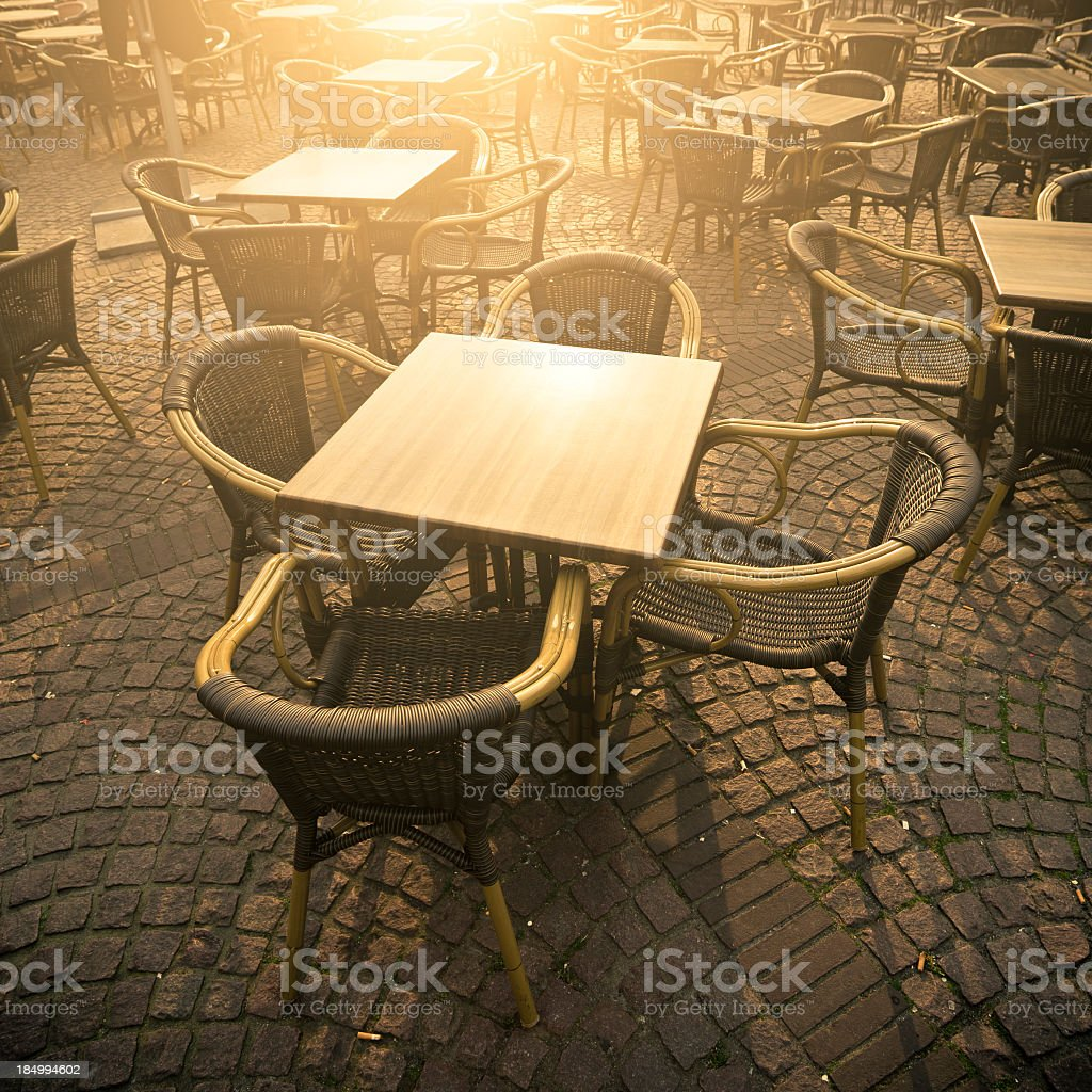 Tables And Chairs In A Pub, Square, Amsterdam royalty-free stock photo