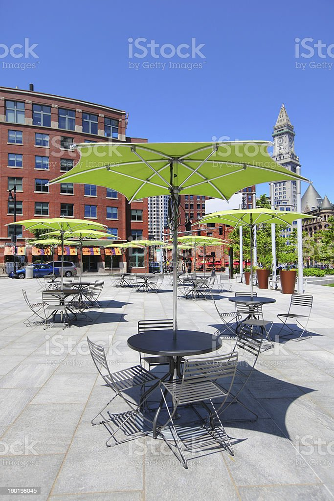 Tables and Chairs on a Boston City Terrace stock photo