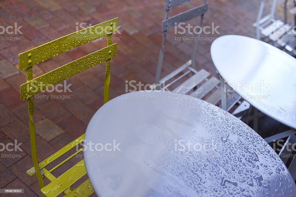 Tables and chairs stock photo