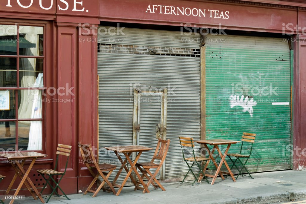 Tables and shutters stock photo