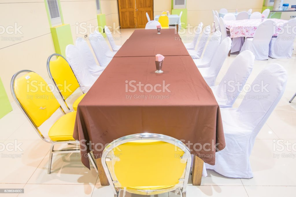 Tables banquet room stock photo