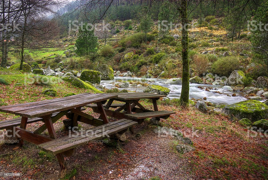 Tables by the River royalty-free stock photo