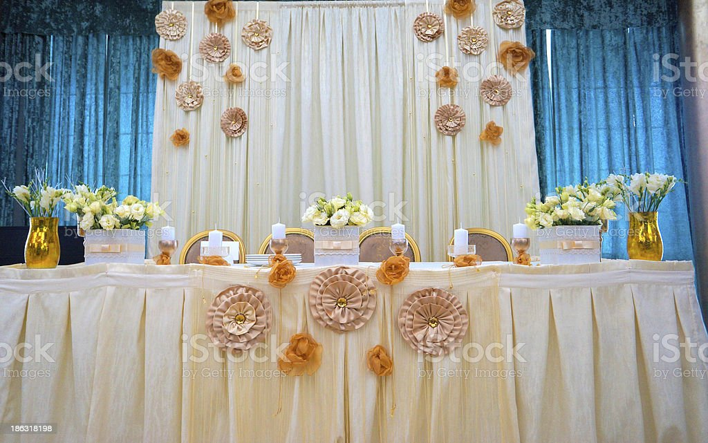 Tables decorated with flowers royalty-free stock photo