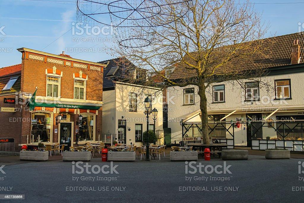 Tables outdoor restaurant Eeterij Het Kleine Brughuis stock photo