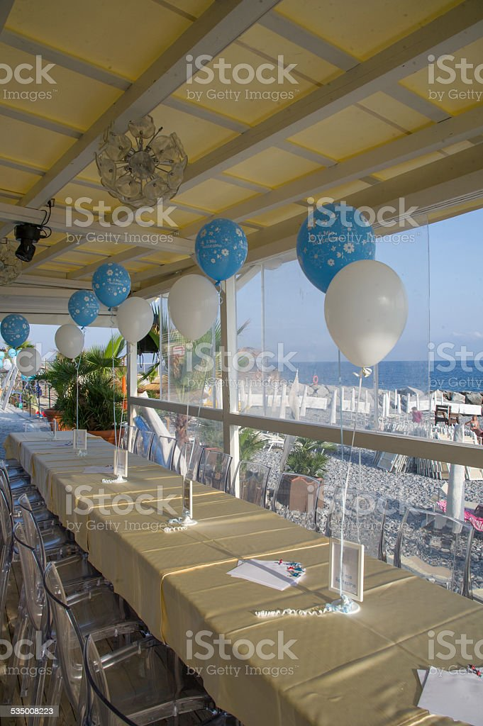tables ready for christening royalty-free stock photo