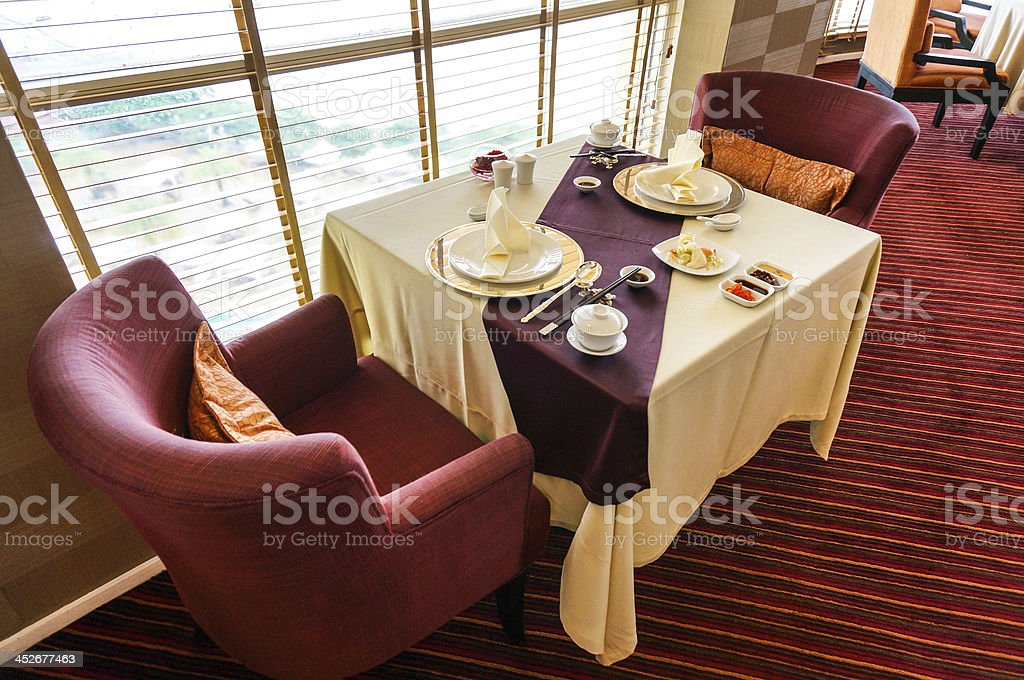 tables set in restaurant royalty-free stock photo