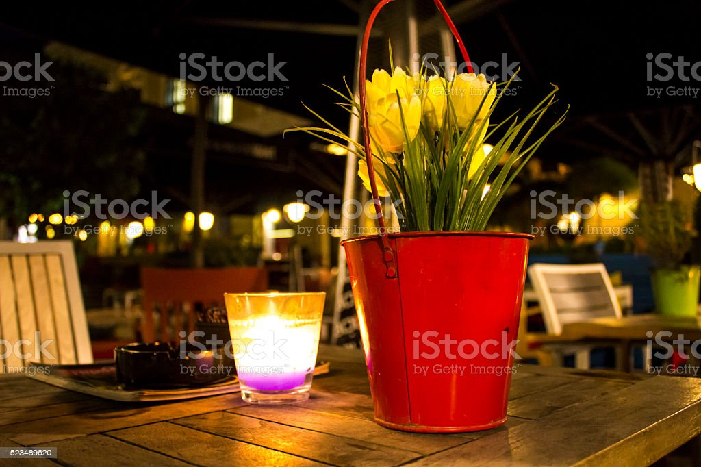 Tables with candles in restaurant stock photo