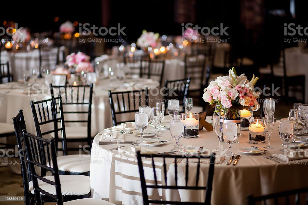 Tables with centerpieces at wedding reception royalty-free stock photo
