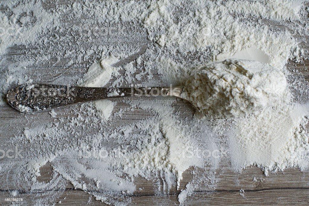 Tablespoon of flour stock photo