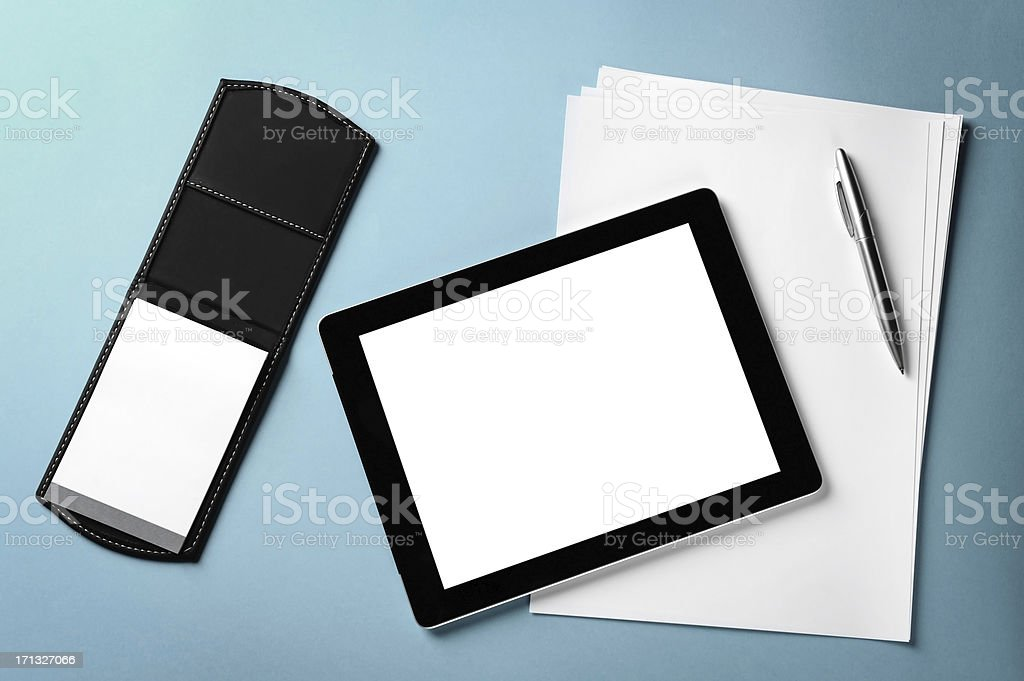 Tablet and blank papers royalty-free stock photo