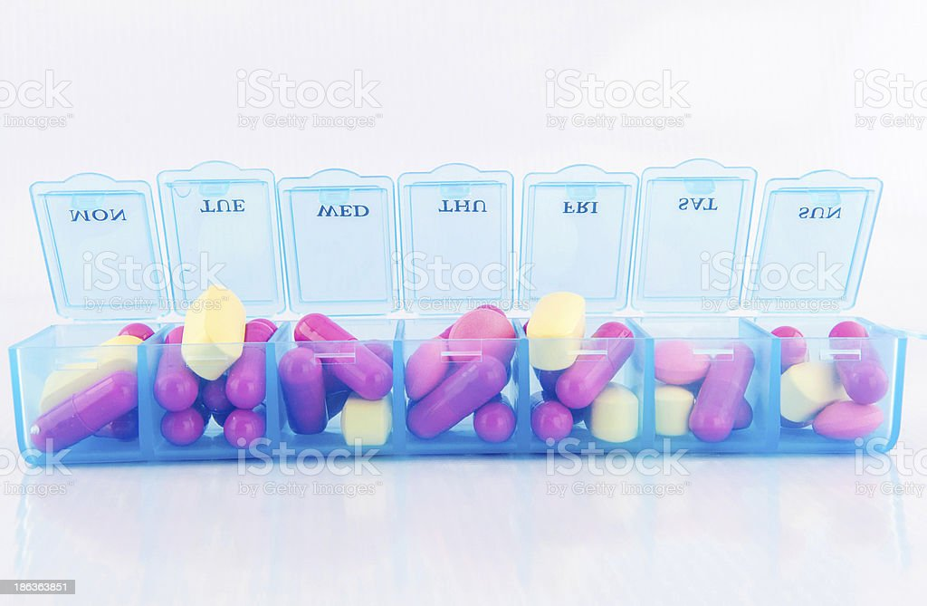 Tablet and capsule in daily pill box stock photo