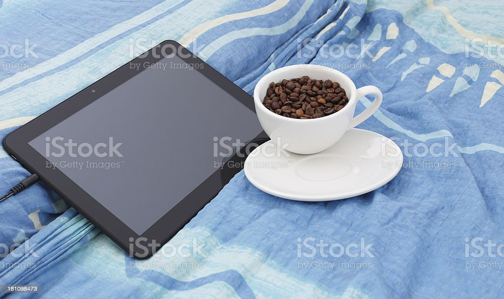 Tablet and coffee stock photo
