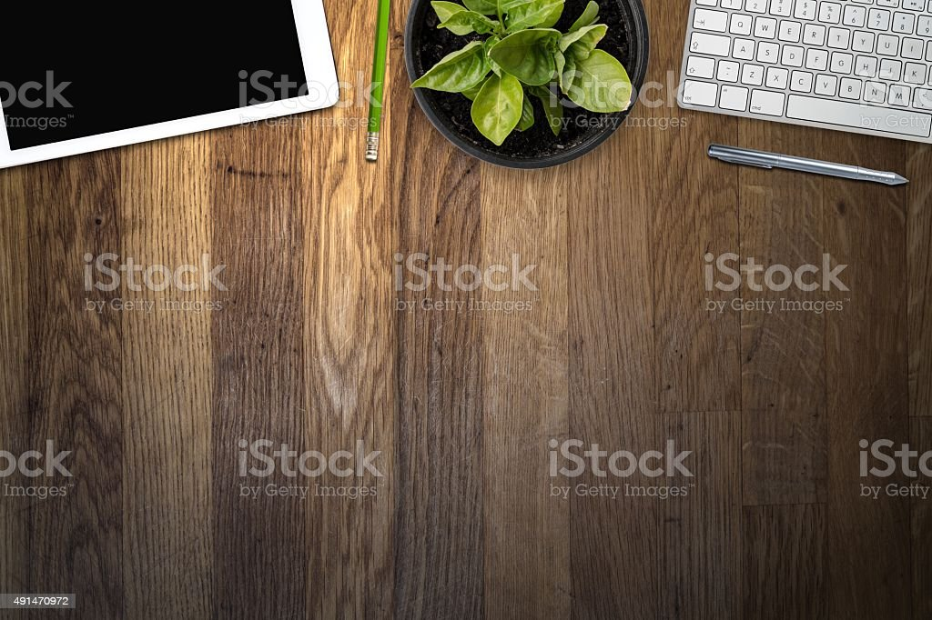 tablet and keyboard with pen on the office desk stock photo