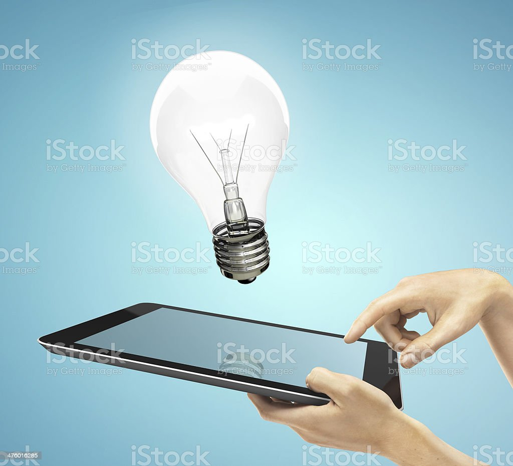 tablet and lamp royalty-free stock photo