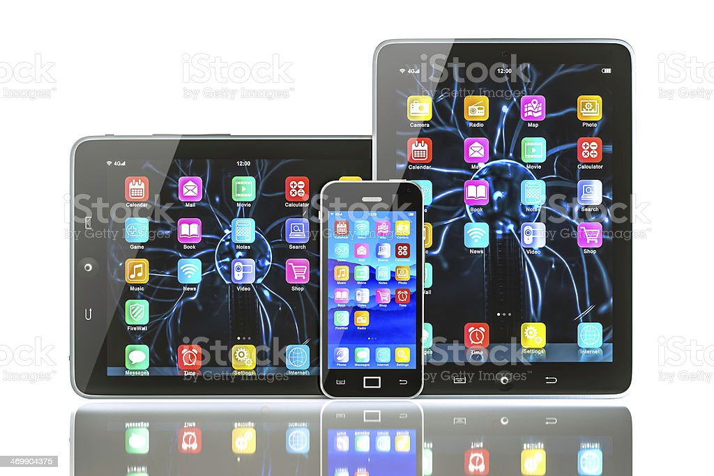 Tablet and mobilephone with clipping paths royalty-free stock photo