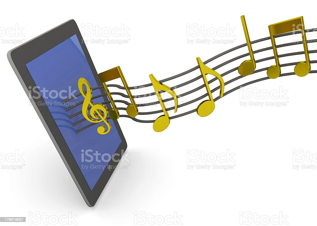 tablet and music stock photo