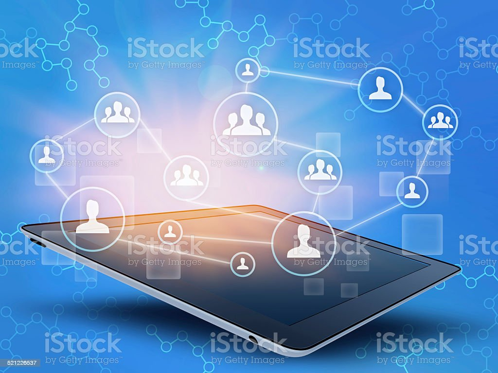 tablet and people together in a team on via network. stock photo