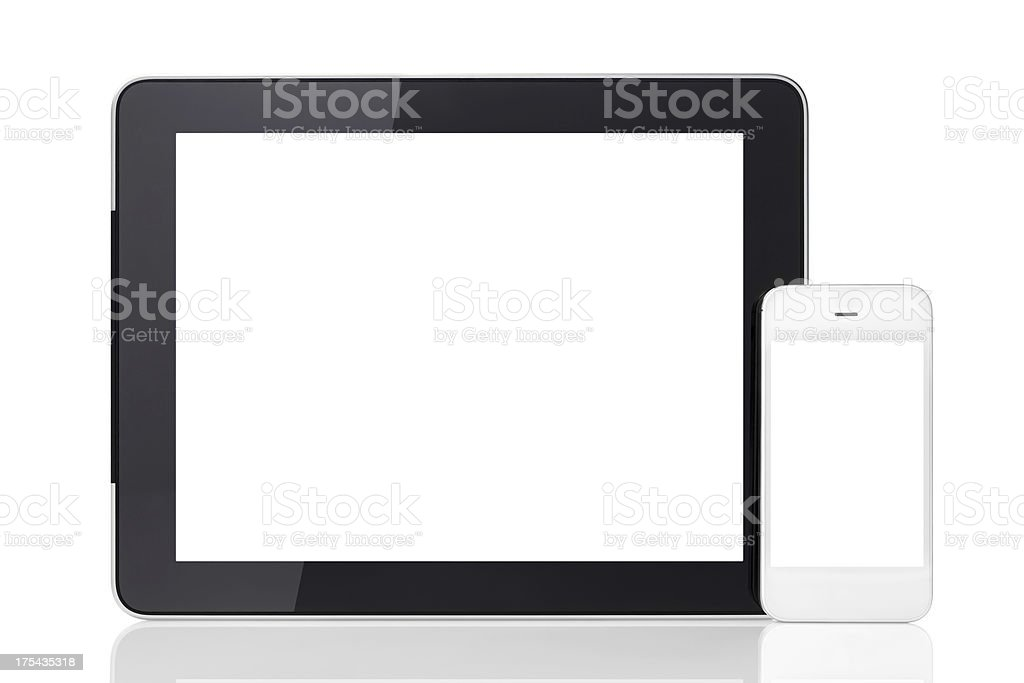 Tablet and Smart Phone (Clipping Path) stock photo