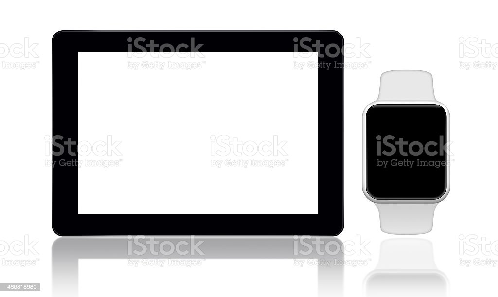 Tablet and smart watch on white background stock photo