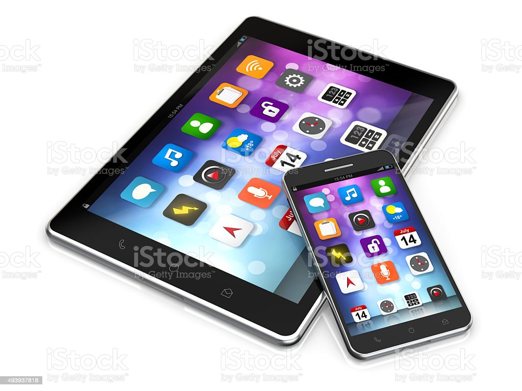 tablet and smartphone with app screen stock photo