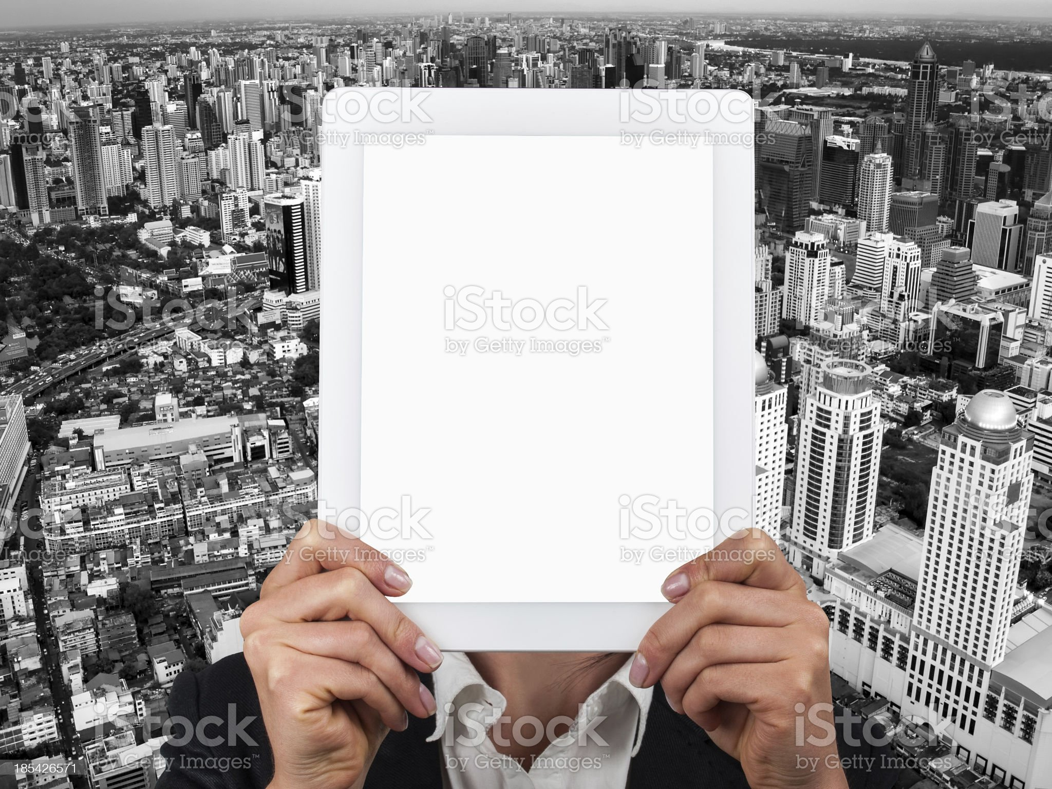 Tablet and the City royalty-free stock photo