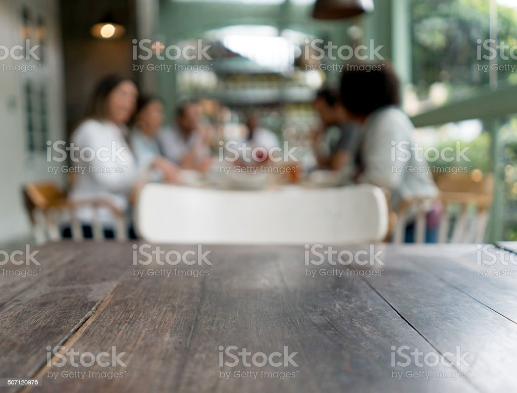 Tablet at a restaurant stock photo