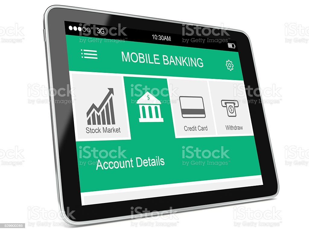 Tablet Banking Application stock photo
