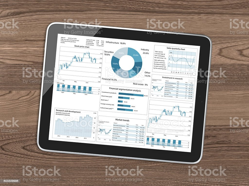 Tablet business report wooden desk top view stock photo