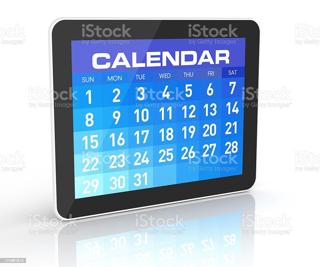 Tablet Calendar stock photo