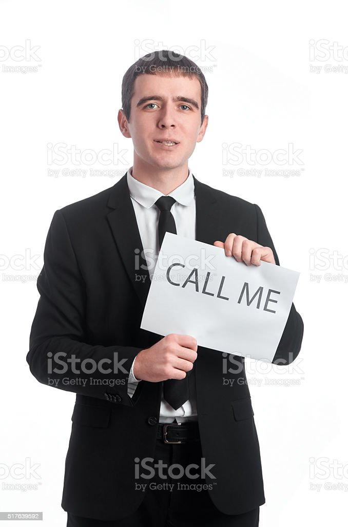 Tablet call me in man's hands stock photo