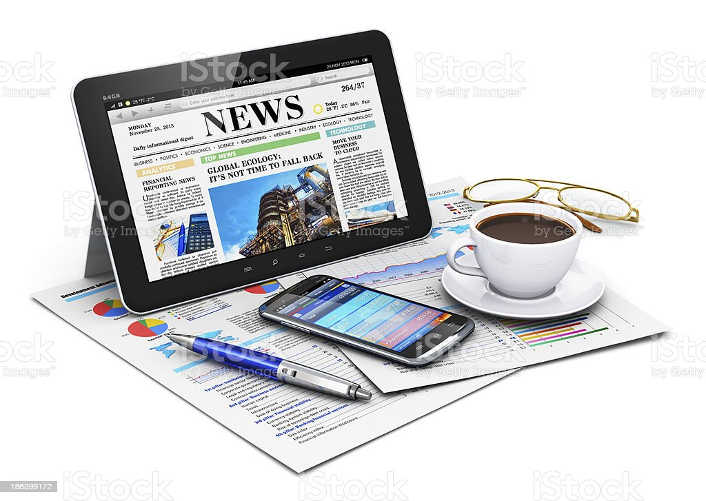 Tablet computer and business objects stock photo