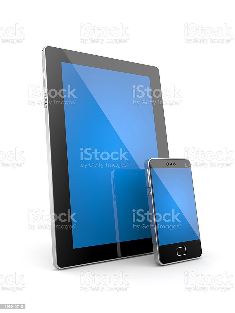 Tablet computer and mobile phone royalty-free stock photo