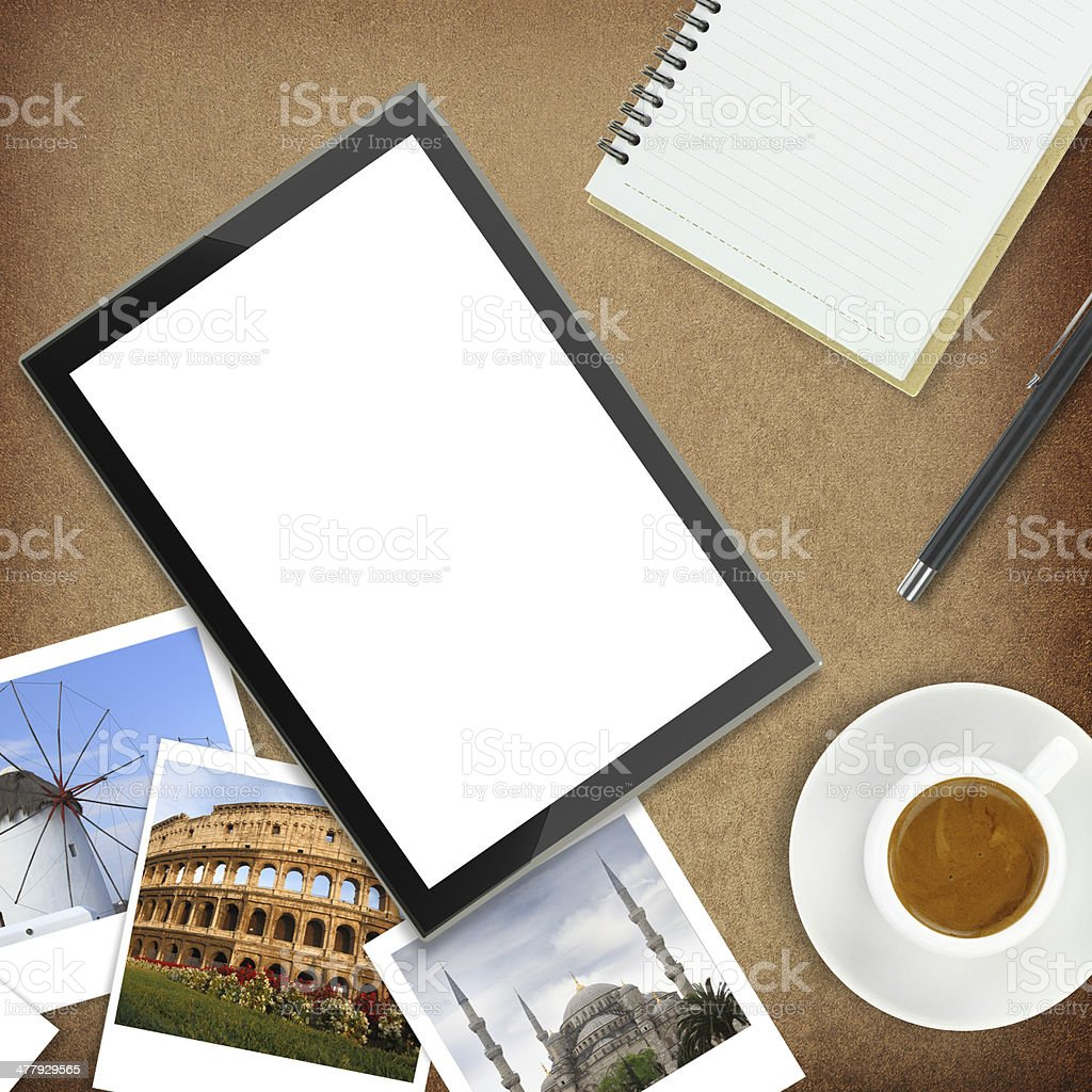 Tablet computer and photos of famous places royalty-free stock photo