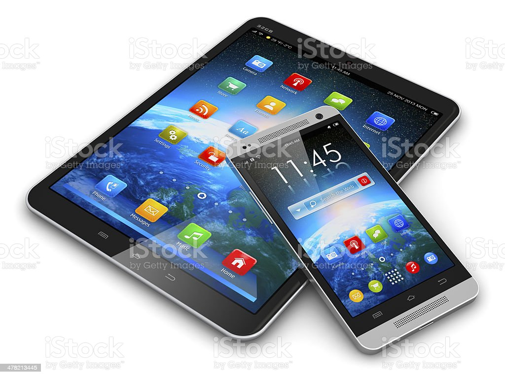 Tablet computer and smartphone stock photo