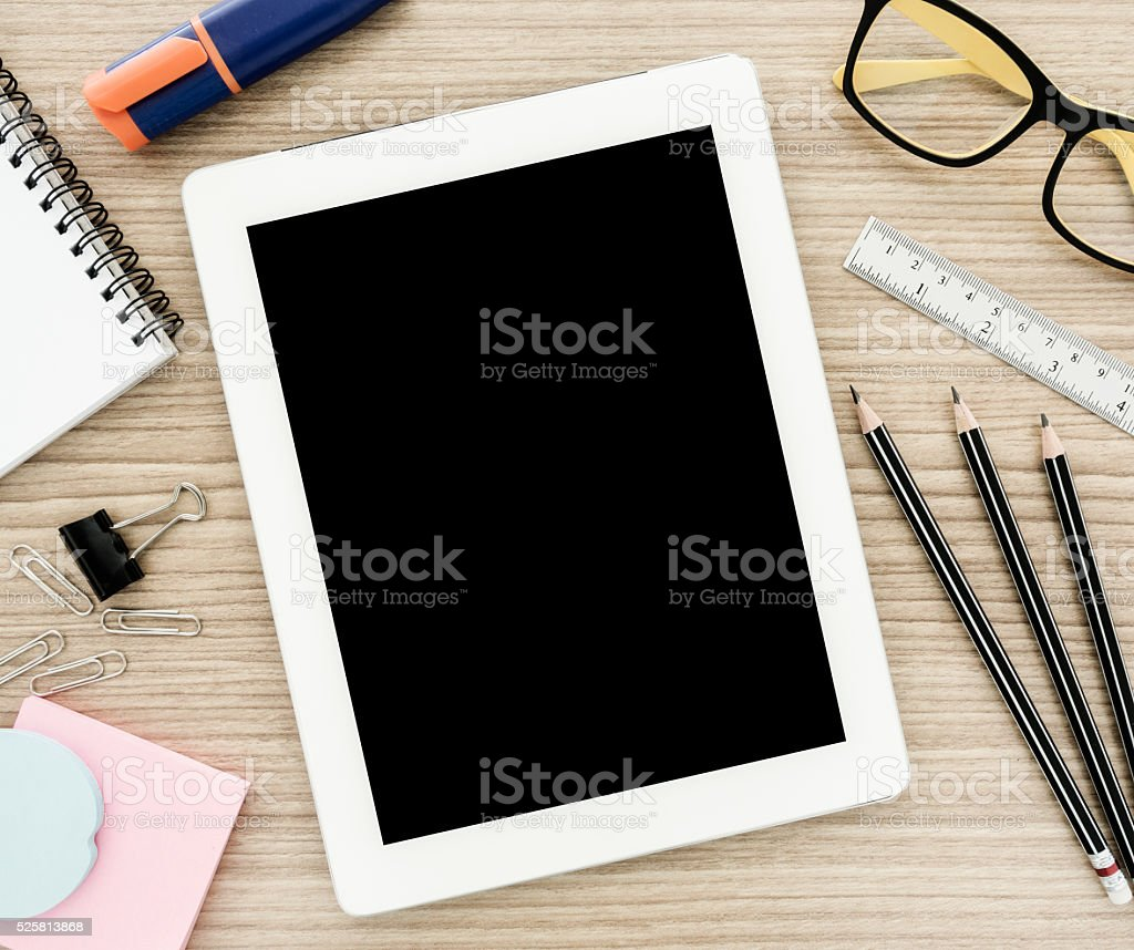 tablet computer and stationery stock photo