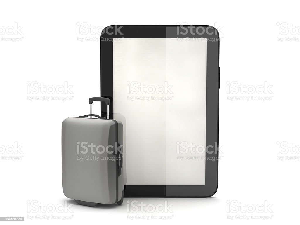 Tablet computer and travel bag royalty-free stock photo