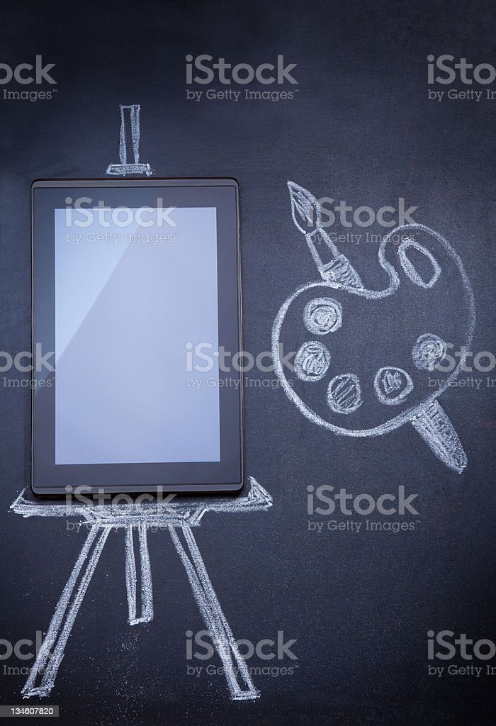 Tablet computer as easel for painting royalty-free stock photo