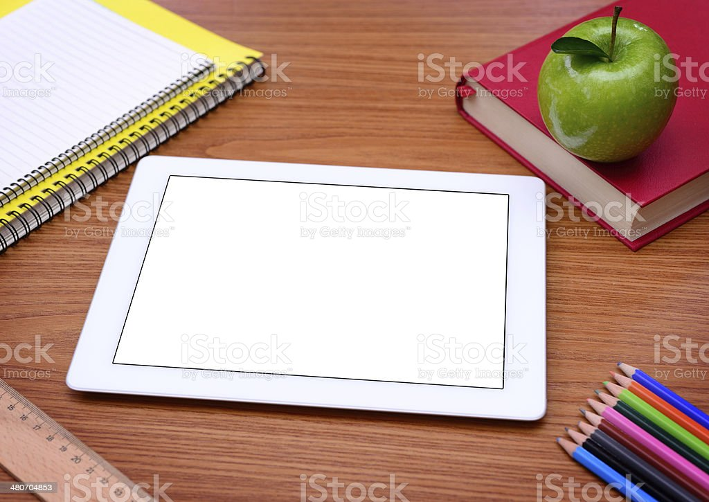 Tablet computer at school royalty-free stock photo