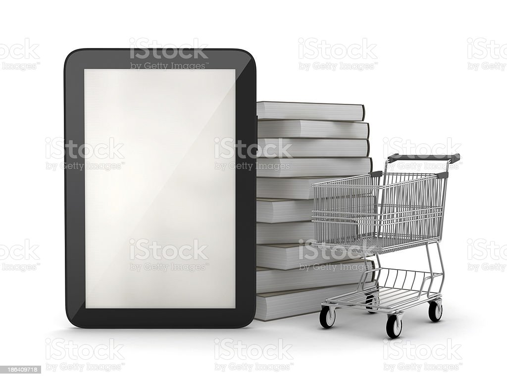 Tablet computer, books and shopping cart royalty-free stock photo