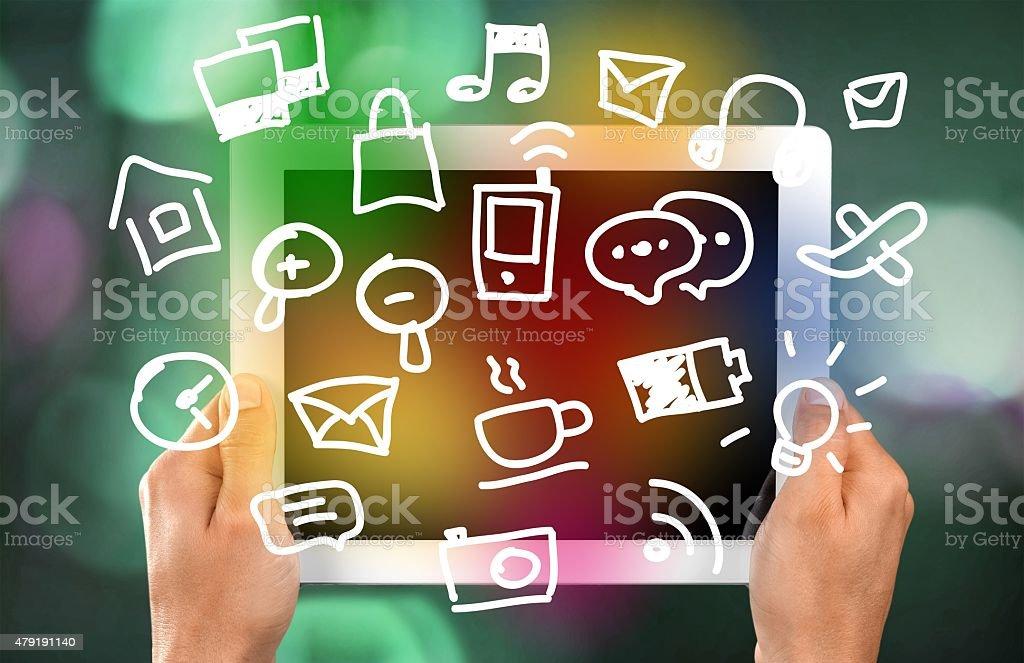 Ipad, Human Hand, Digital Tablet stock photo