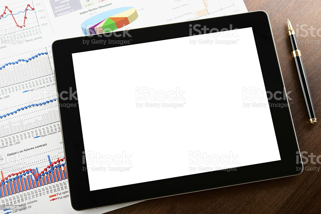 Tablet computer on a businessman workplace royalty-free stock photo